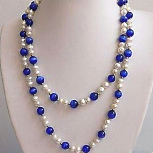 Beauty white freshwater cultured pearl blue opal cat eyes round beads necklace for women high grade party jewelry 51inch MY5271