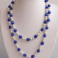 Bellezza bianco d'acqua dolce della perla blu opale occhi di gatto rotonda borda la collana per le donne del partito di alta qualità dei monili 51 inch MY5271