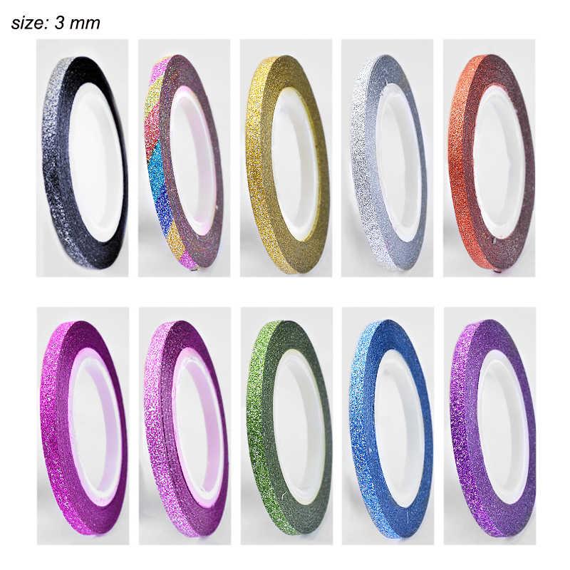 מט נייל מדבקת מעגל רוחב 1 2 3mm ציפורניים צבעוניות אמנות מדבקות מניקור מעגל עצמי דבק מדבקות עיתונות על ציפורניים NDL