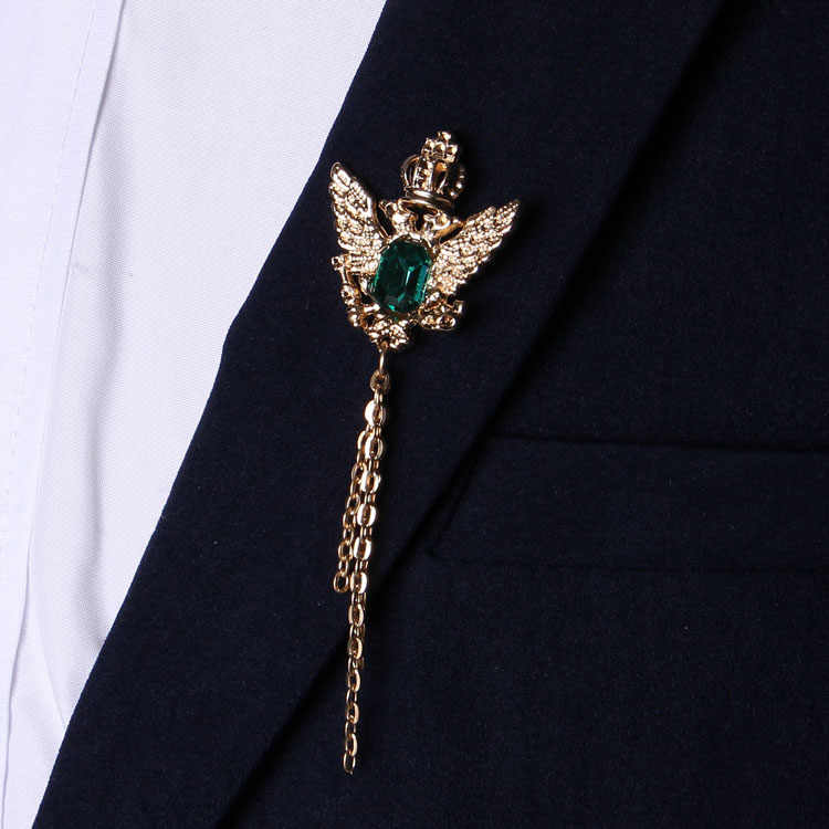 b36bc9d992f ... 2017 Brooches Broche For Shirt Collar Buckle Crown Shuangying Fringed  Brooch Men And Needles Suit Thorns ...