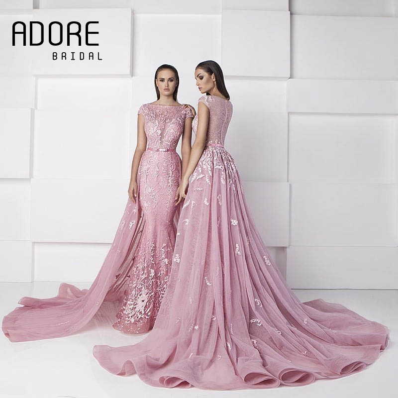 c8b68267ab0 2017 Zuhair Murad Pink Mermaid Evening Dresses Detachable Over skirts Boat  Neck Lace Applique Tulle Court Train Arabic Prom Gown