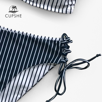CUPSHE Navy And White Stripe Strappy Lace-Up Bikini Sets Women Sexy Two Pieces Swimsuits 2020 Girl Cute Bathing Suits 4