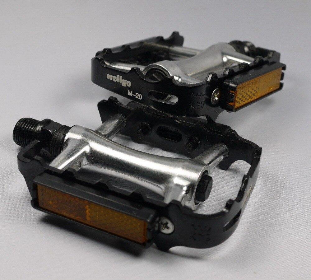 "WELLGO M20 M-20 PEDALS 9//16/"" BLACK SILVER 256g PAIR BMX MTB ROAD BIKE Aluminum"