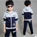 Retail para niños deportes traje niños y niñas de 3-12 años de edad los niños grandes vírgenes traje uniformes ropa de Primavera chaqueta + Pantalones