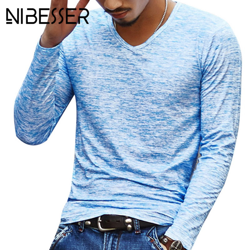 V-Neck T-Shirt Tees Pullover Tops Long-Sleeve Streetwear Fitness Slim Blue Vintage Autumn