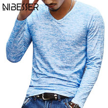 2018 Herfst Slanke Streetwear V hals T-SHIRT Mannen Casual Fitness Tops & Tees Vintage Blauwe Lange Mouwen Trui shirt homme Plus Size(China)
