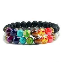 Natuurlijke 2 Stks/set Natuursteen 7 Chakra Armbanden & Bangles Lava Healing Yoga Balance Kralen Reiki Boeddha Gebed Armband Sieraden