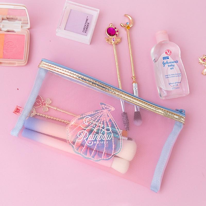 Kawaii School Pencil Case For Girls Penal Transparent Pencilcase Cute Laser Flamingo Shell Penalties Pen Bag Stationery Pouch