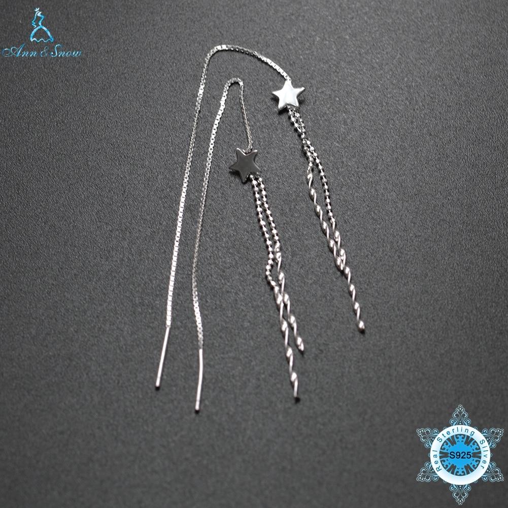 Ann & Snow 925 Sterling Silver Earrings OL Style Long Line Chain Drop Dangle Earrings Br ...
