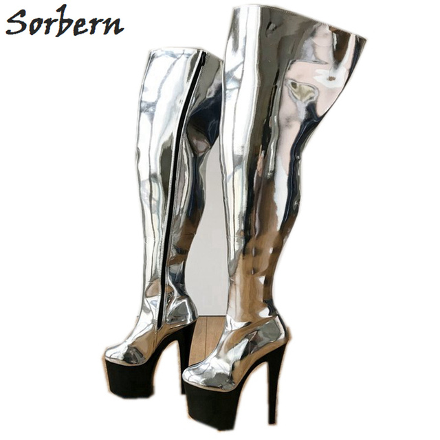 0f04cc4048e Sorbern 17Cm Platform Heel Over The Knee Boots Women Crotch Hi Side Zip Wide  Calf Plus Size Thigh Custom Boot Metallic Silver