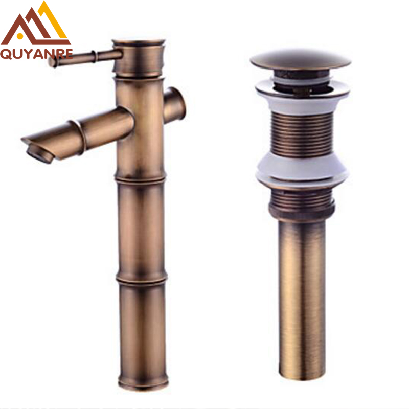 Antique Brass Bathroom Bamboo Style Faucet Deck Mounted Basin Sink Faucet Bathroom Mixer Tap With Pop Up Drain new designed antique brass bamboo arts bathroom basin sink drain pop up waste vanity with overflow