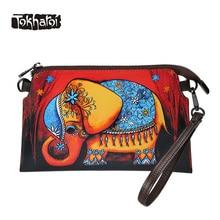 Tokharoi Marke Frauen Split Ledertasche Hohe Qualität Tag Clutches handtasche Cartoon Druck Handtasche Animal Prints Reißverschluss Geldbörse tote