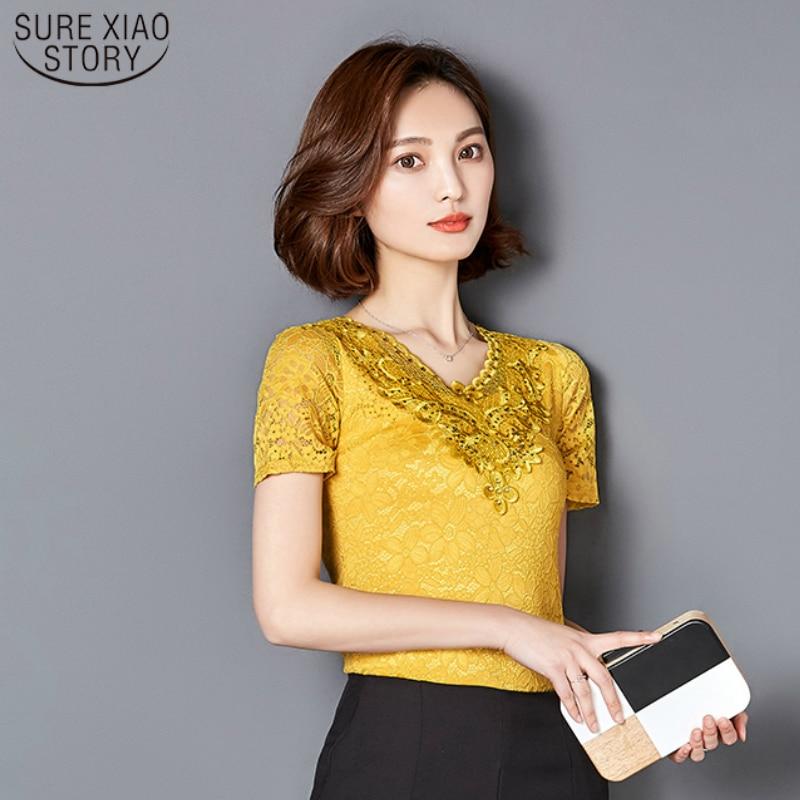 2017 fashion Summer Lace Short Sleeve women's blouses shirt Women  Flower Hollow Hot Drilling Tops Shirts Plus Size XXXL 918C 30