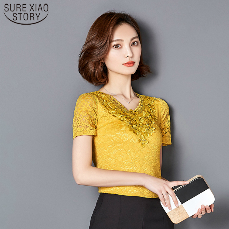 2017 fashion Summer Lace Short Sleeve women's   blouses     shirt   Women Flower Hollow Hot Drilling Tops   Shirts   Plus Size XXXL 918C 30