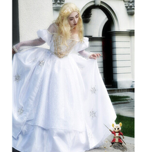 2017 Halloween Cosplay Costume Alice in Wonderland White Queen Dress Gown WHITE