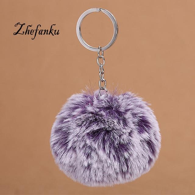 Women Car Bag Key Ring Trendy Fluffy Gradient Hair Ball Key Chain Rings  Pendant Cute Pompom Artificial Keychain 6b9c5f0e19