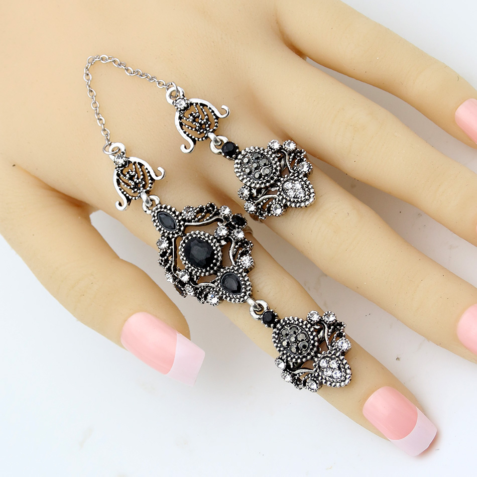 Nobby Flower Double Finger Ring Turkish Women Antique Crystal Ethnic Chain Rings Royal Ladies Arabesque Jewelry Anneau Anillos