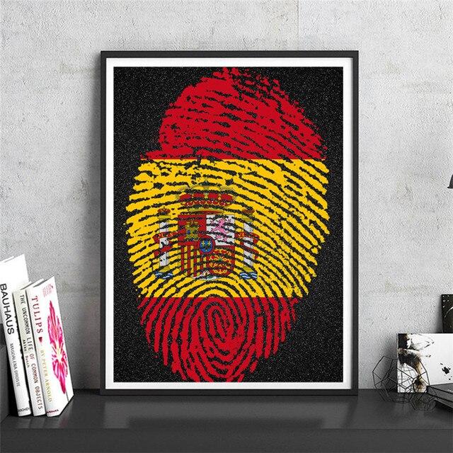 Spain Fingerprint map Krafts Paper Print Picture Wall Art Crafts ...