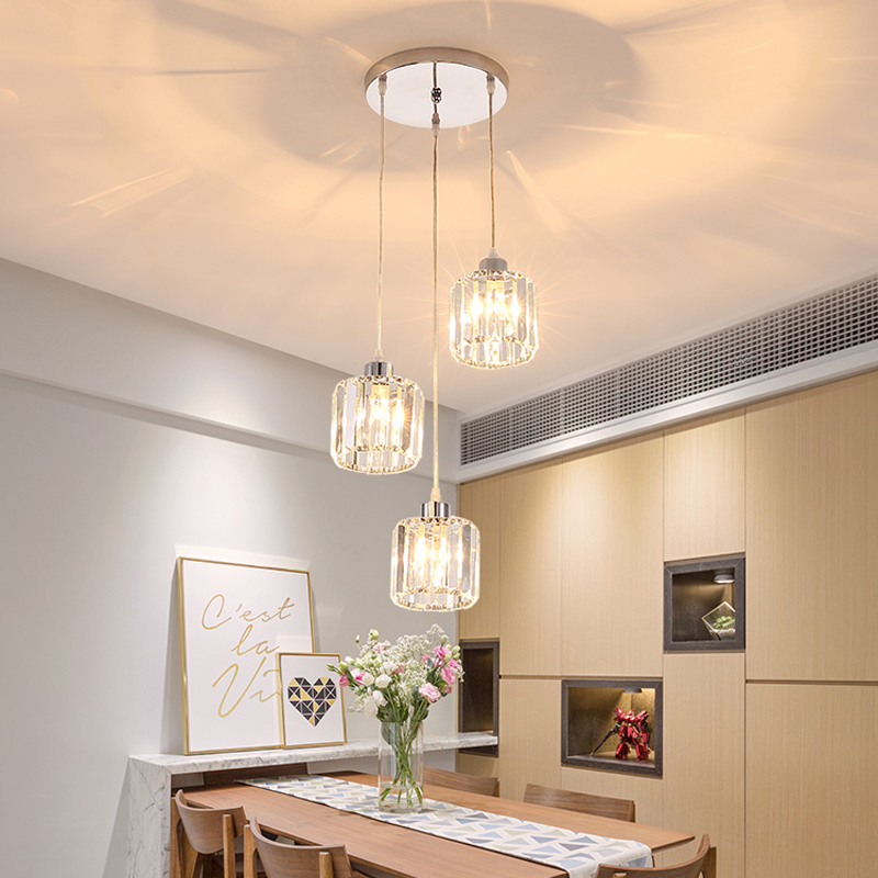 Restaurant three chandelier postmodern minimalist dining room bar lighting Nordic luxury creative dining table crystal lamp led m best price 55cm nordic minimalist crystal lamp drops e14 led lamp lighting american retro aisle dining room iron chandelier