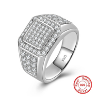 Expensive but way better quality 100% S925 Ring Sterling silver 925 diamond Wedding Engagement Luxury Exaggerated hiphop love