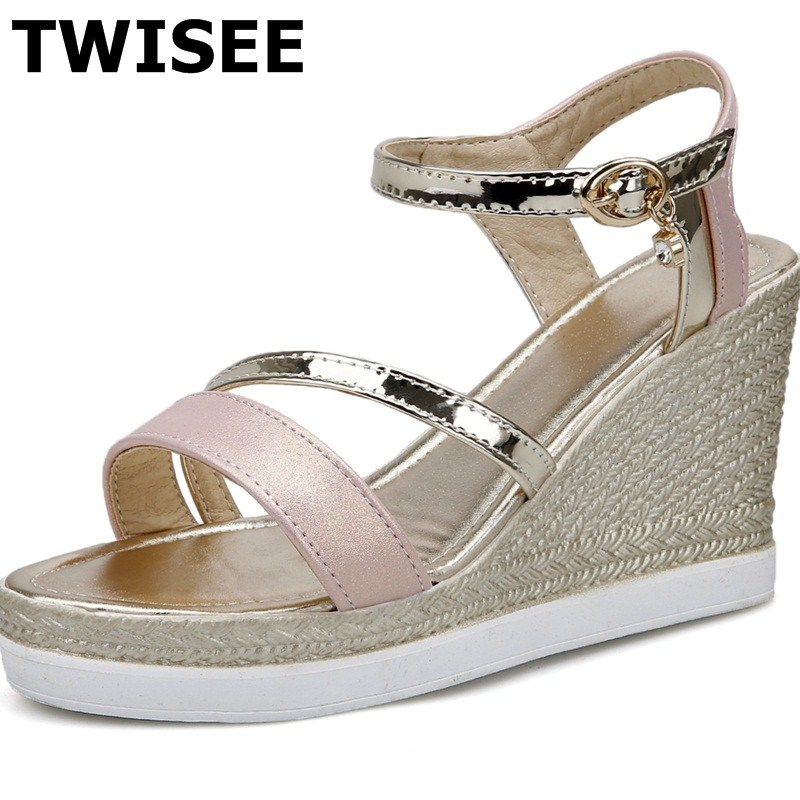 TWISEE Fashion Wedges woman casual shoes platform pu leather Buckle Strap Comfortable ladies women shoes sandals summer sandals phyanic 2017 gladiator sandals gold silver shoes woman summer platform wedges glitters creepers casual women shoes phy3323