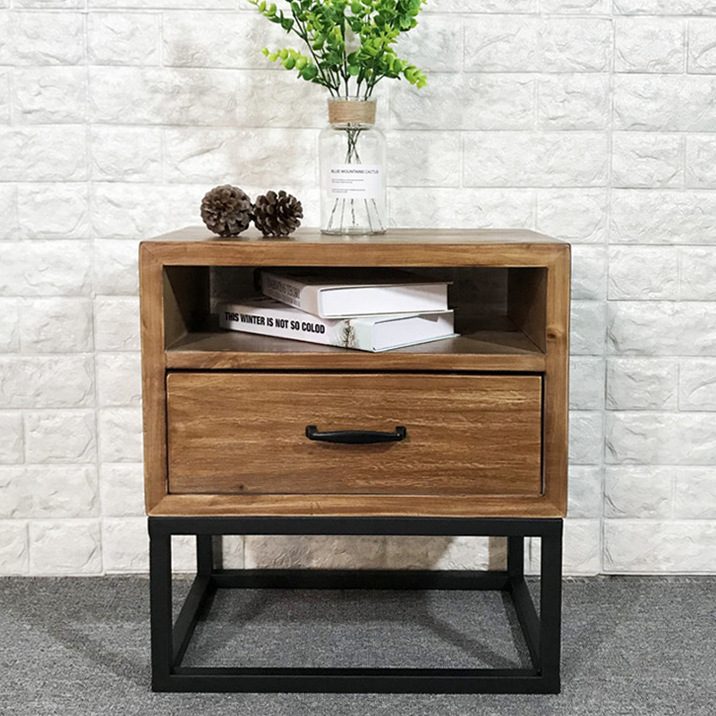 Loft industrial Style American retro bedside table wrought iron wood bedside cabinet simple mini phone side table corner table - 2