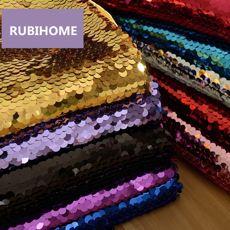 RUBIHOME 1 Meter Width 130cm 9mm Fish Scale Sequins Fabric for DIY Sewing Home Wedding Dress