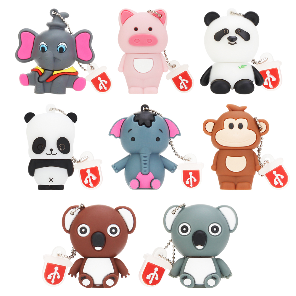 Pen drive 32GB 64GB Cartoon Koala usb flash drive 128GB 16GB 8GB 4GB USB 2.0 mini Elephant panda Pet pig Pendrive USB Stick Disk-in USB Flash Drives from Computer & Office