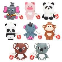 Pen drive 32GB 64GB Cartoon Koala usb flash 128GB 16GB 8GB 4GB USB 2.0 mini Elephant panda Pet pig Pendrive Stick Disk