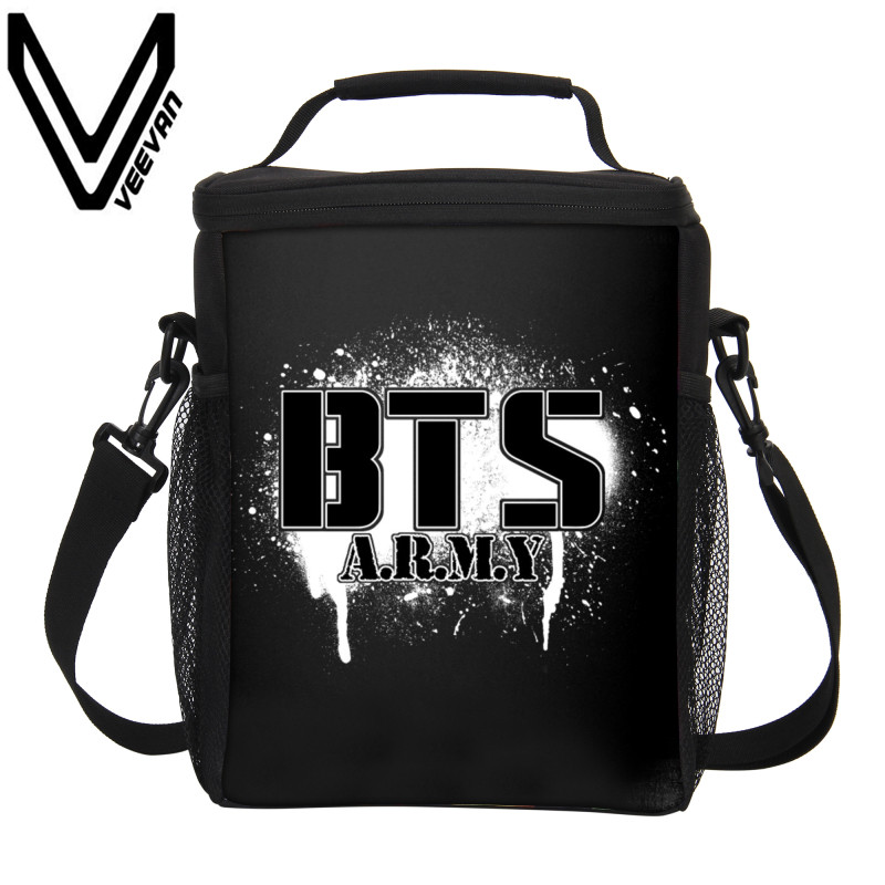 VEEVANV Brand 2017 BTS Lunch Box Insulated Lunch Bags New 3D PU Prints Cooler Box Storage Picnic Bags BTS Lunch Portable Handbag