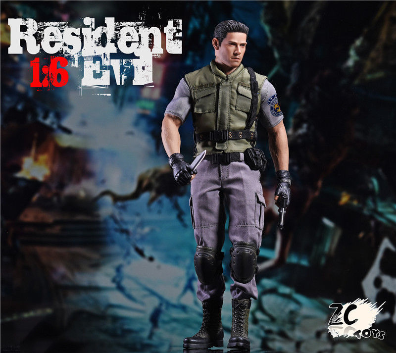 1//6 Resident Evil Chris Redfield Head Sculpt For Hot Toys PHICEN Male Figure