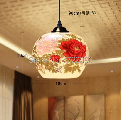 Chinese Style,Jingdezhen Ceramic,Multicolour flowers,1 Light,Warm light,For dining room living room study,E27,Bulb Included hand painted chinese style jingdezhen ceramic ceiling light for living room dining room aisle the entrance bulb included