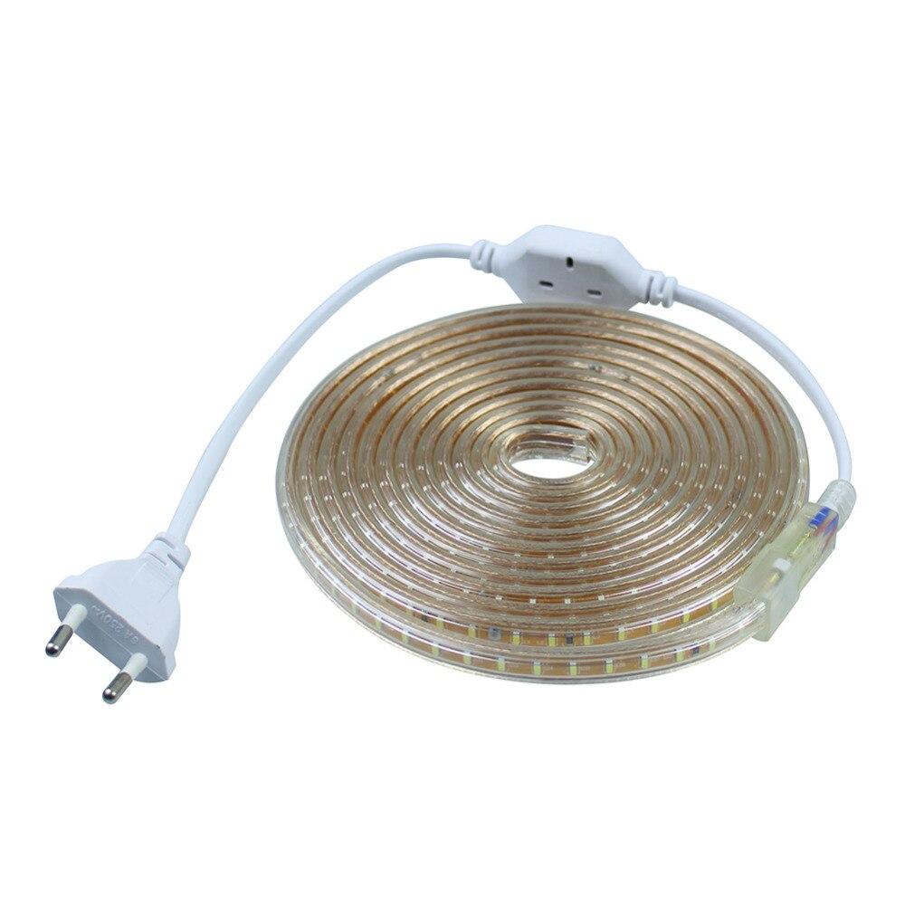 led strip smd 2835 220v - AC220V SMD 2835 120LEDS/M Flexible Led Strip light Silicone Tube Waterproof  led ribbon tape 1M/2M/3M~20M + EU Power Plug