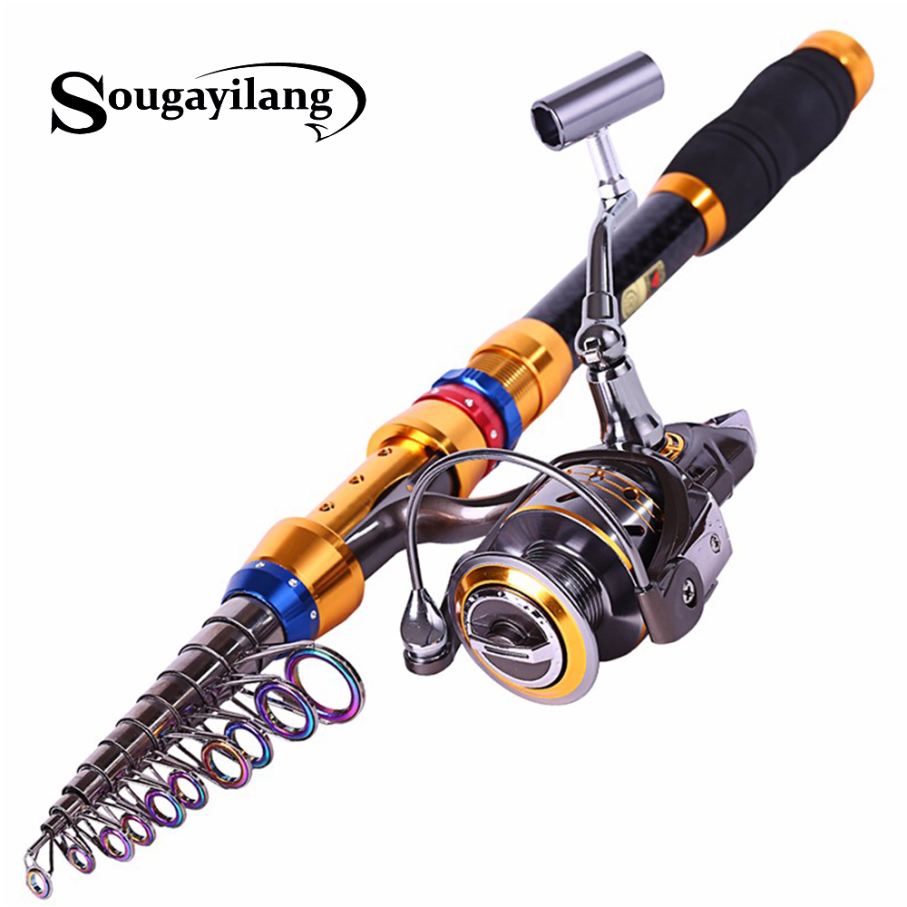 Spinning Telescopic Fishing Rod Set And Carp Fishing Reel 1 8m 3 6m Carbon Fishing Pole
