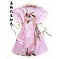 2016 Chegada Nova Rosa Pavão robe de Poliéster das Mulheres Chinesas Roupão de Banho Vestido de pijama Tamanho Da Flor Frete Grátis