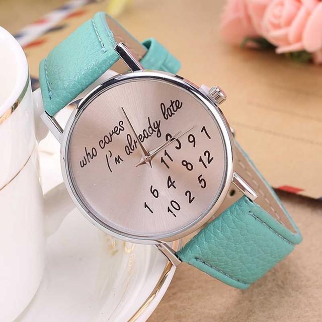 New Style who cares I'm already late Irregular Figure Women Men Wristwatch Fashi