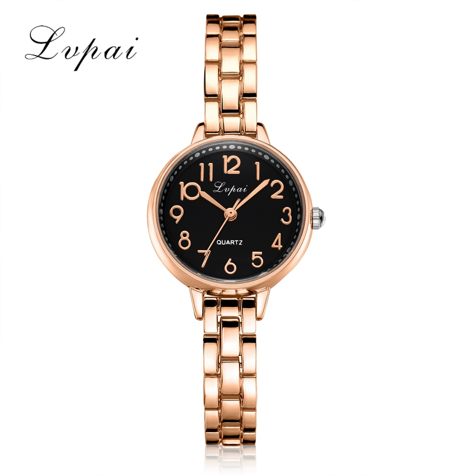 Lvpai Brand 2017 Fashion Women Watches Luxury Bracelet Quartz Wristwatch Watches Gold Steel Straps Lady Dress Clock Wrist LP168 weiqin new 100% ceramic watches women clock dress wristwatch lady quartz watch waterproof diamond gold watches luxury brand