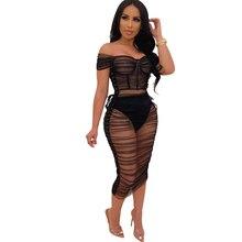Summer new women's sexy dress word shoulder strap perspective mesh dress nightclub black dress mesh shoulder form fitting dress