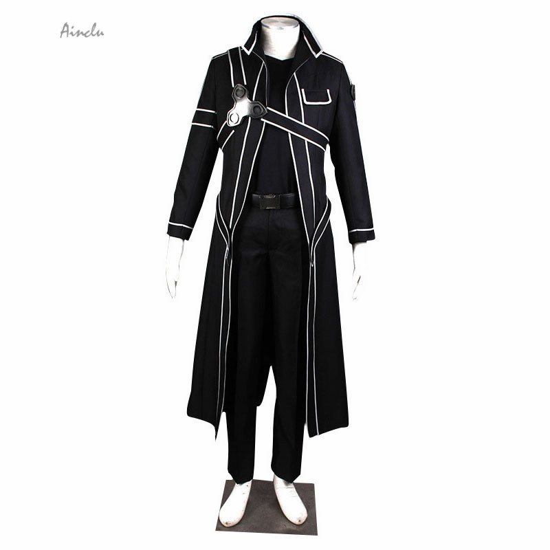 Ainclu Free Shipping Costume Sword Art Online Kirito Cosplay Costume SAO Kirigaya Kazuto Black Halloween Adult Cosplay Costume