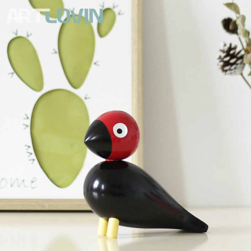 Nordic Denmark Wooden Bird Figurines Wood Carving Puppet Sculpture Figure Nature Animal Ornaments for Home Decoration Hot Sales