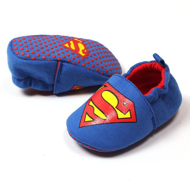 2017 hot sale algodão crib shoes super homem confortável qualidade do bebê da menina do menino primeiro sapato da moda frete grátis