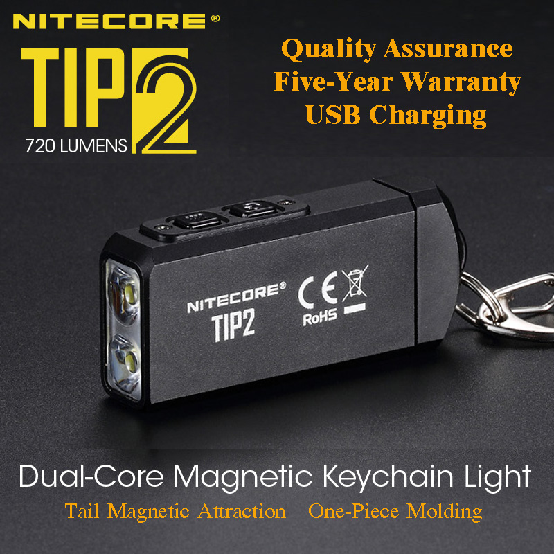 NITECORE TIP2 CREE XP-G3 S3 720 Lumen USB Rechargeable Keychain Flashlight With Battery