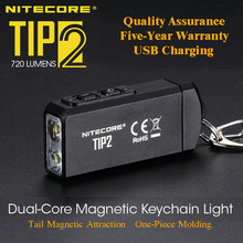 NITECORE TIP2 CREE XP G3 S3 720 lumen USB Rechargeable Keychain Flashlight with Battery
