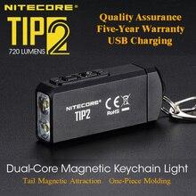 NITECORE TIP2 كري XP G3 S3 720 التجويف USB قابلة للشحن سلسلة المفاتيح مصباح يدوي مع البطارية