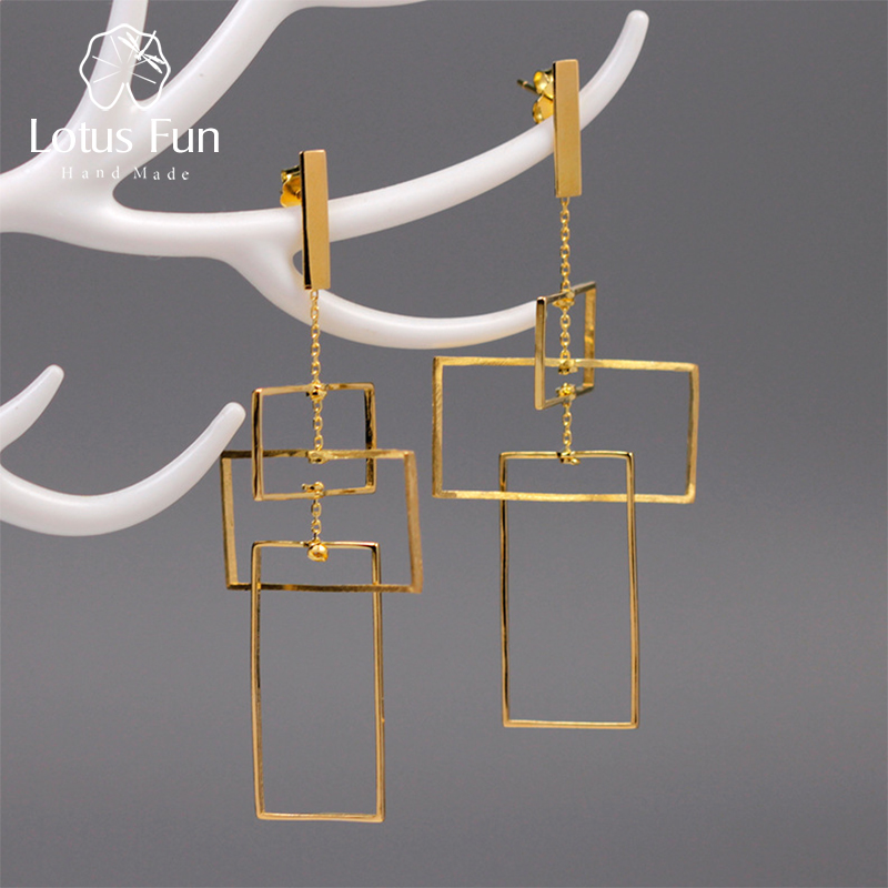 Lotus Fun Real 925 Sterling Silver Fine Jewelry Fashion Elements 18K Gold Geometic Rectangular Design Dangle Earrings For Women