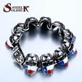 Steel soldier wholesale 316 Stainless Steel  2016 New Cool Punk South American Flag skull Bracele for Man's  jewelry
