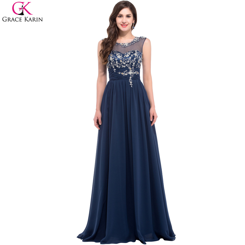 Long navy blue bridesmaid dresses grace karin chiffon for Blue long dress wedding