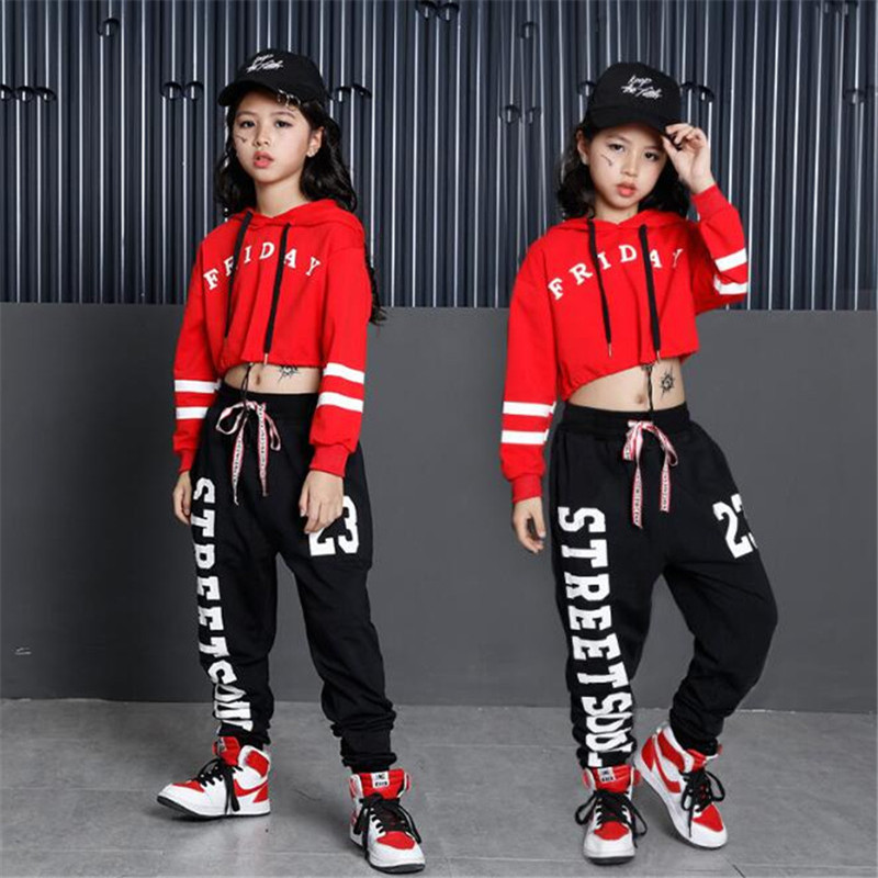 Girls Street Dance Clothing Kids Black Red Letter Crop Hoodie Top With Pant 2pcs Set For Girls Ballroom Jazz Hip Hop Dance Sets