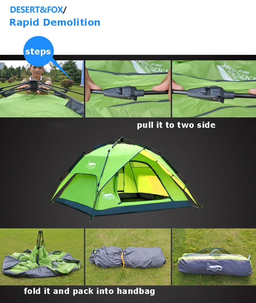 Desert&Fox Automatic Camping Tent, 3-4 Person Family Tent Double Layer Instant Setup Protable Backpacking Tent for Hiking Travel 10