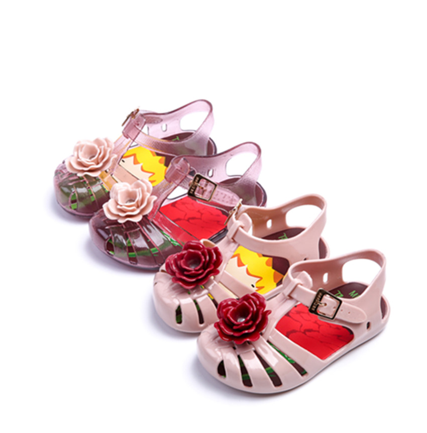 2018 Colorful Mini Melissa flower High Quality Kids Sandals Soft Leather Rain Boots Buckle Strap Charm Children Shoes